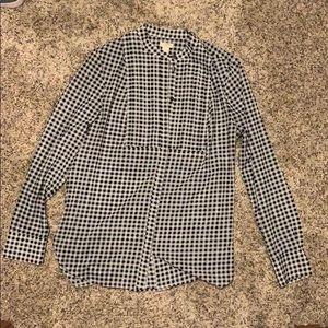 JCrew Black white plaid button down blouse Size S